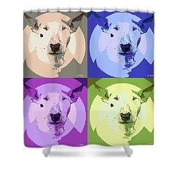 Bull Terrier Pop Art Shower Curtain by George Pedro