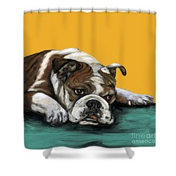 Bulldog On Yellow Shower Curtain