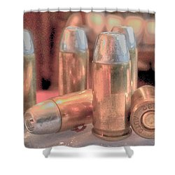 Bullet Art Hollow Point Soft Gold Shower Curtain by Lesa Fine