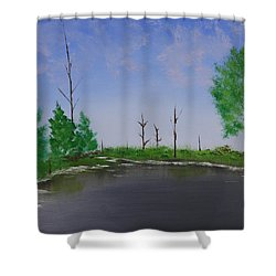 Shower Curtain featuring the painting Bullfrog Reservoir by Jennifer Muller