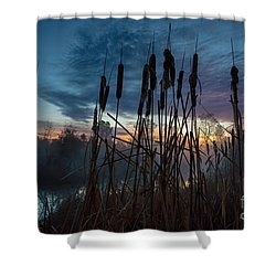 Bulrush Sunrise Shower Curtain
