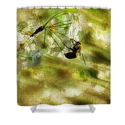 Bumble Bee Eating Sweet Nectar Shower Curtain by Dan Friend
