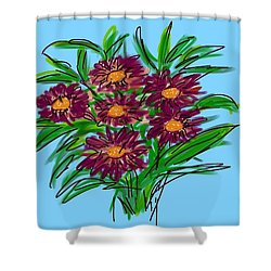 Shower Curtain featuring the digital art Bunch Of Daisies by Christine Fournier