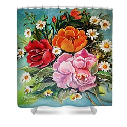 Shower Curtain featuring the painting Bunch Of Flowers by Yolanda Rodriguez