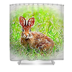 Bunny - Watercolor Art Shower Curtain by Kerri Farley