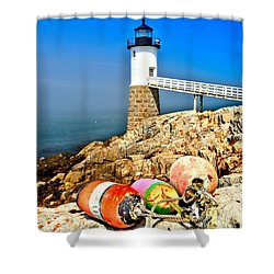 Buoys At The Headlight Shower Curtain by Adam Jewell