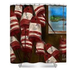 Buoys With A View      Shower Curtain by Christine Fournier