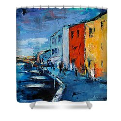 Burano Canal - Venice Shower Curtain by Elise Palmigiani