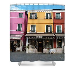 Shower Curtain featuring the painting Burano by Robin Maria Pedrero