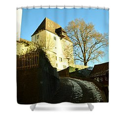 Shower Curtain featuring the photograph Burgdorf Castle In December by Felicia Tica