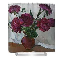 Burgundy Peonies Shower Curtain