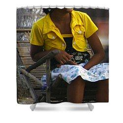 Burmese Girl With Traditional Thanaka Face Painting Sitting On Chair Yangon Myanmar Shower Curtain