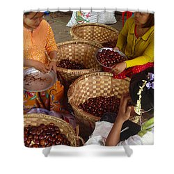 Shower Curtain featuring the photograph Burmese Ladies Sorting Water Chestnuts Zay Cho Street Market 29th Street Mandalay Burma by Ralph A  Ledergerber-Photography