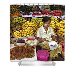 Burmese Lady Selling Colourful Fresh Fruit Zay Cho Street Market 27th Street Mandalay Burma Shower Curtain