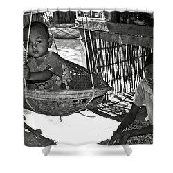 Burmese Mother And Son Shower Curtain by RicardMN Photography