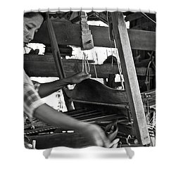 Burmese Woman Working With A Handloom Weaving. Shower Curtain by RicardMN Photography