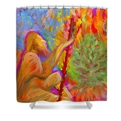 Burning Bush Of Yhwh Shower Curtain by Hidden  Mountain