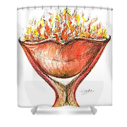 Shower Curtain featuring the painting Burning Hot Lips by Teresa White