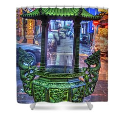 Burning Incense Shower Curtain