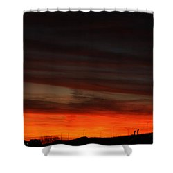 Burning Night Time Sky Shower Curtain by John Telfer
