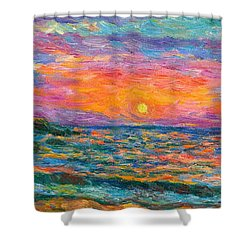 Burning Shore Shower Curtain