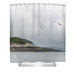 Burnt Island Light Shower Curtain by Lori Deiter