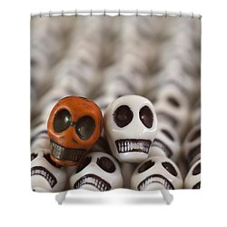 Burnt Orange And White Shower Curtain by Mike Herdering