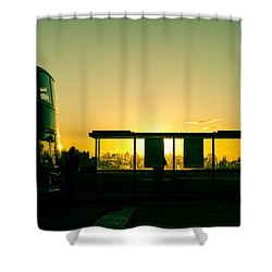 Bus Stop At Sunset Shower Curtain