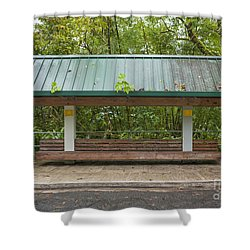 Bus Stop Bench In The Rainforest  Shower Curtain