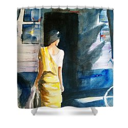 Bus Stop - Woman Boarding The Bus Shower Curtain by Carlin Blahnik