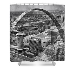 Busch Stadium Bw A View From The Arch Merged Image Shower Curtain