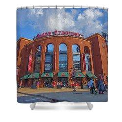Busch Stadium St. Louis Cardinals Paint Blue Shower Curtain