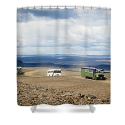 Shower Curtain featuring the photograph Buses Of Landmannalaugar by Peta Thames
