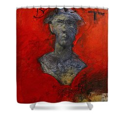 Shower Curtain featuring the painting Bust Ted - With Sawdust And Tinsel  by Cliff Spohn