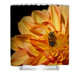Busy Bee Dahlia Shower Curtain
