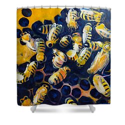 Busy Bees Shower Curtain by Rebecca Gottesman