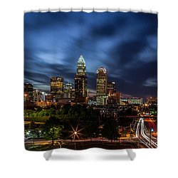 Busy Charlotte Night Shower Curtain by Chris Austin