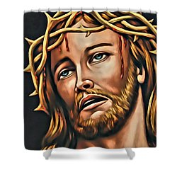 Shower Curtain featuring the digital art But For Grace by Karen Showell