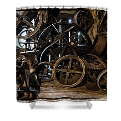 Butte Creek Mill Interior Scene Shower Curtain by Mick Anderson