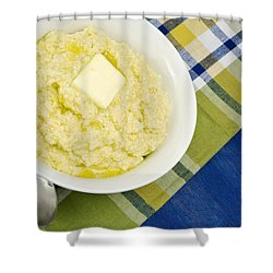 Cheese Grits With A Pat Of Butter Shower Curtain by Vizual Studio
