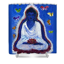 Butterflies Dream Of Buddha Shower Curtain