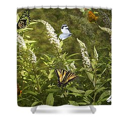 Shower Curtain featuring the photograph Butterflies In Golden Garden by Belinda Greb