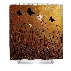 Butterflies Landscape Shower Curtain by Carmen Guedez