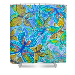 Shower Curtain featuring the mixed media Butterflies On Blue by Teresa Ascone