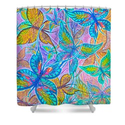 Shower Curtain featuring the mixed media Butterflies On Lilac by Teresa Ascone