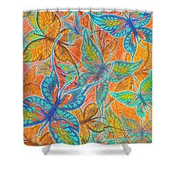 Shower Curtain featuring the painting Butterflies On Tangerine by Teresa Ascone