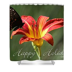Butterfly And Lily Holiday Card Shower Curtain