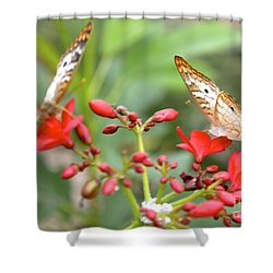 Butterfly Besties Shower Curtain by Carla Carson
