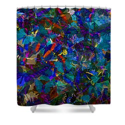 Shower Curtain featuring the photograph Butterfly Collage Blue by Robert Meanor