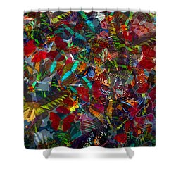 Shower Curtain featuring the photograph Butterfly Collage Red by Robert Meanor